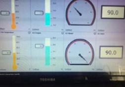 Screen shot of remote process control showing Temperature, Oxygen recycled air valve position and air flow rate.